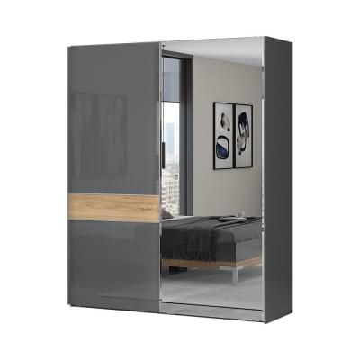 Tolóajtós magasfényű gardróbszekrény, 182x224 cm, tükörrel, antracit-tölgy - BISE